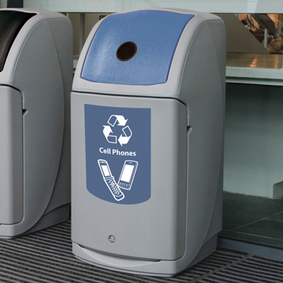Nexus® 36G Cell Phones Recycling Bin with blue aperure and graphics