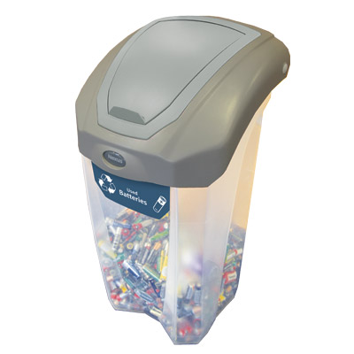 Express C-Thru Nexus® 8G Battery Recycling Bin Small 8-Gallon Battery Bin with Decal & Flip Lid Included