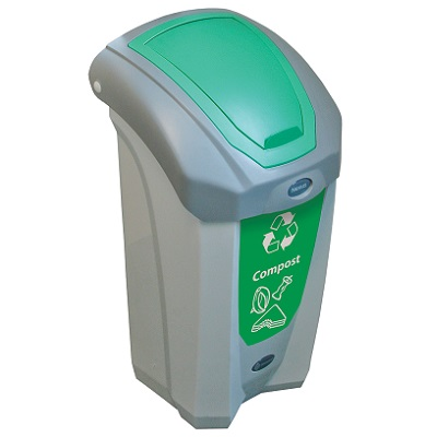 Express Nexus® 8G Food Waste Recycling Bin with Flip Lid Small 8-Gallon Compost Bin with Green Closed Aperture & Decal