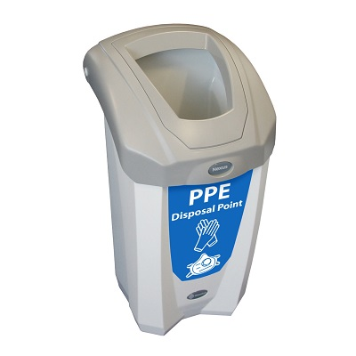 Express Nexus® 8G PPE Waste Collection Bin Small 8-Gallon PPE Bin with Blue Decal & Open Aperture
