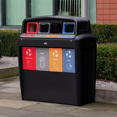 Nexus® Transform City Quad Recycling Station Capacity of 4 x 10 Gallons